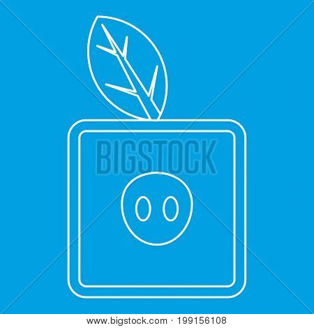 Square apple icon blue outline style isolated vector illustration. Thin line sign