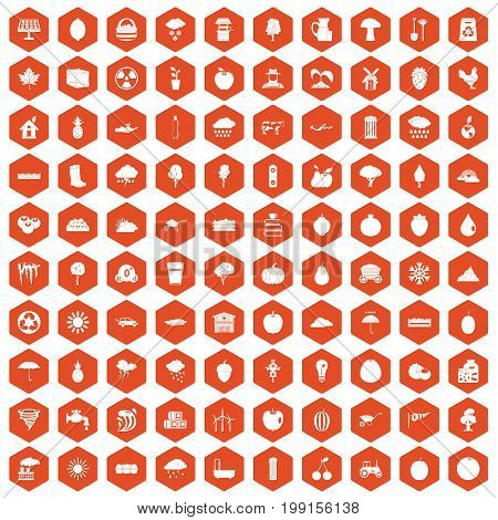 100 fruit icons set in orange hexagon isolated vector illustration
