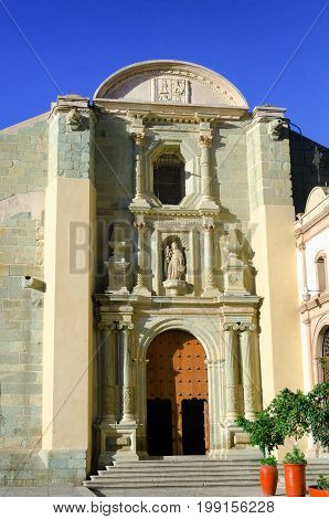 Side view of the Cathedral of Our Lady of the Assumption in downtown Oaxaca Mexico