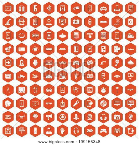 100 gadget icons set in orange hexagon isolated vector illustration