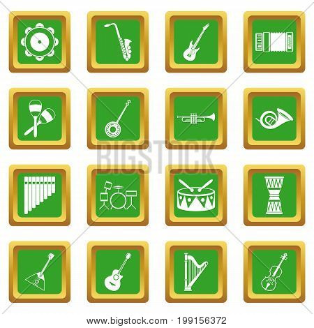 Musical instruments icons set in green color isolated vector illustration for web and any design