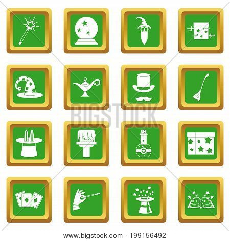 Magic icons set in green color isolated vector illustration for web and any design