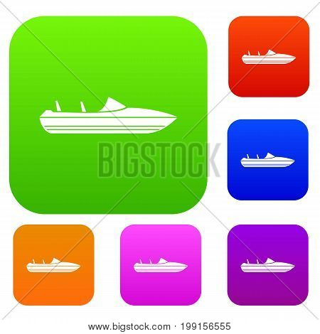 Little powerboat set icon in different colors isolated vector illustration. Premium collection