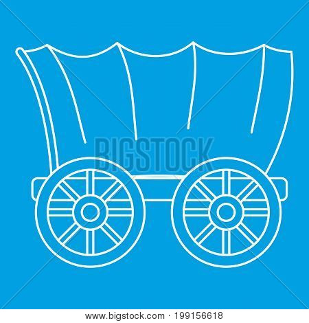 Ancient western covered wagon icon blue outline style isolated vector illustration. Thin line sign