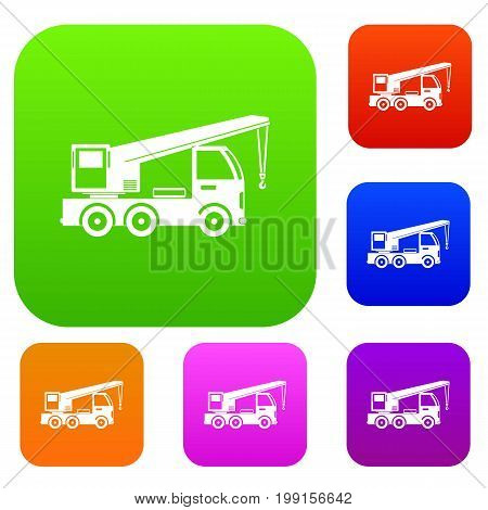 Truck mounted crane set icon in different colors isolated vector illustration. Premium collection