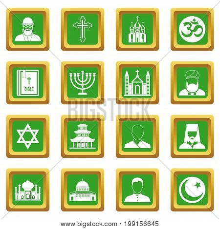 Religious symbol icons set in green color isolated vector illustration for web and any design