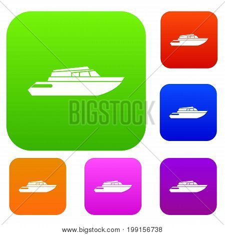 Planing powerboat set icon in different colors isolated vector illustration. Premium collection
