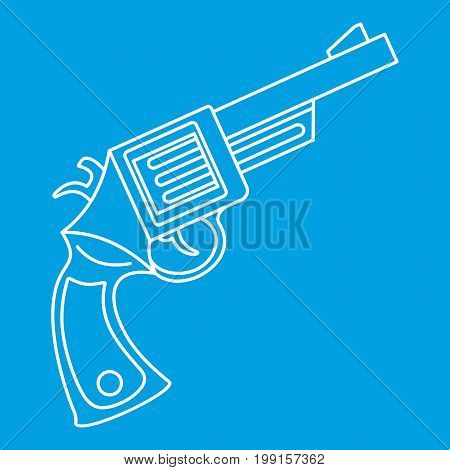 Vintage revolver icon blue outline style isolated vector illustration. Thin line sign