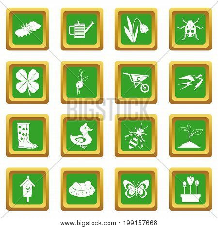 Spring icons set in green color isolated vector illustration for web and any design
