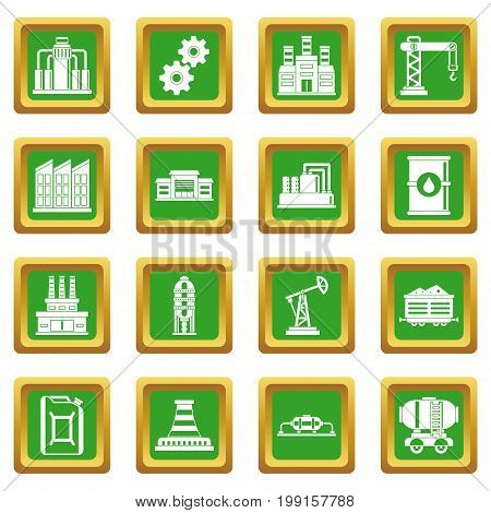 Industry icons set in green color isolated vector illustration for web and any design