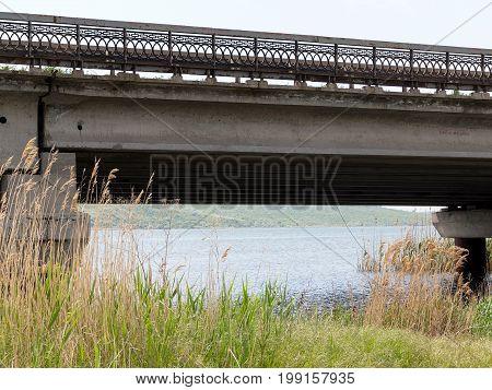 Fragment Of The Old Bridge For The Mass Rapid Transit Near Odessa, Ukraine. Concrete Structure In Ne