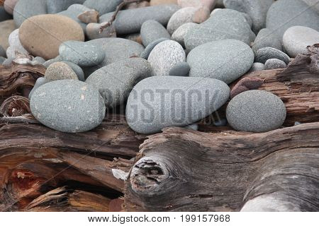 Rocks and driftwood on a beach in Pictured Rocks National Lakeshore, Upper Peninsula of Michigan