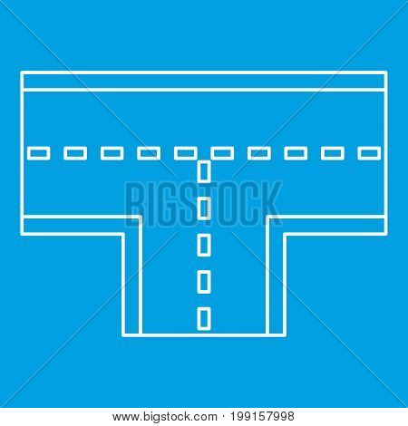 Road intersection icon blue outline style isolated vector illustration. Thin line sign