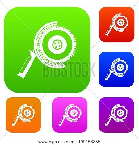 Circle saw set icon in different colors isolated vector illustration. Premium collection