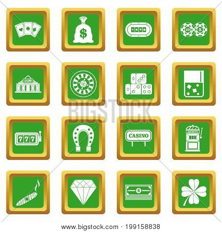 Casino icons set in green color isolated vector illustration for web and any design