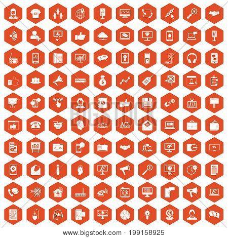 100 help desk icons set in orange hexagon isolated vector illustration