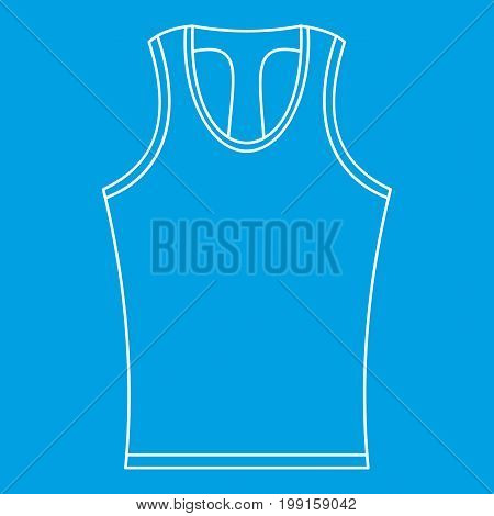 Sleeveless shirt icon blue outline style isolated vector illustration. Thin line sign