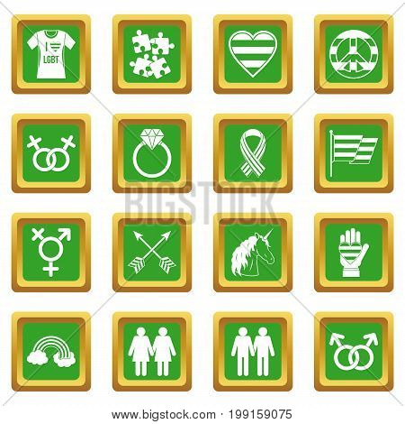 Lgbt icons set in green color isolated vector illustration for web and any design