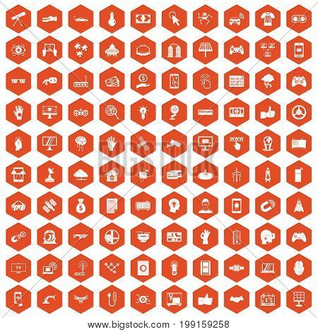 100 hi-tech icons set in orange hexagon isolated vector illustration