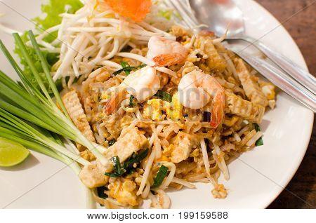 Thai food (Pad Thai) with fresh shrimp for eating,popular Thai food