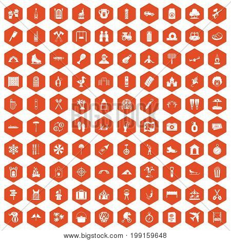100 holidays family icons set in orange hexagon isolated vector illustration