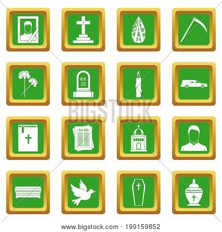 Funeral icons set in green color isolated vector illustration for web and any design