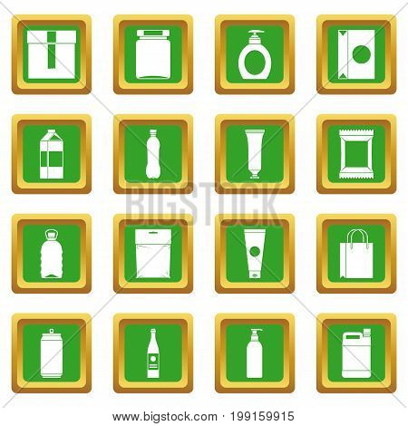 Packaging items icons set in green color isolated vector illustration for web and any design