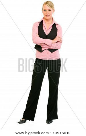 Full length portrait of smiling business woman with crossed arms on chest isolated on white