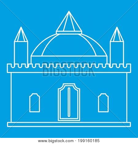 Medieval palace icon blue outline style isolated vector illustration. Thin line sign
