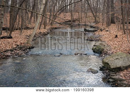 A creek in the Hammel Woods Forest Preserve in Shorewood, Illinois, flows toward the Du Page River, during December.