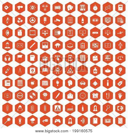 100 information icons set in orange hexagon isolated vector illustration