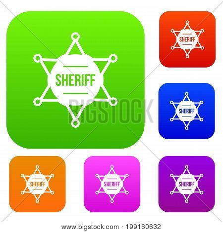 Sheriff badge set icon in different colors isolated vector illustration. Premium collection