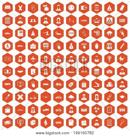 100 initiation icons set in orange hexagon isolated vector illustration