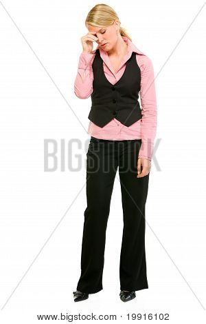 Full length portrait of tired modern business woman isolated on white