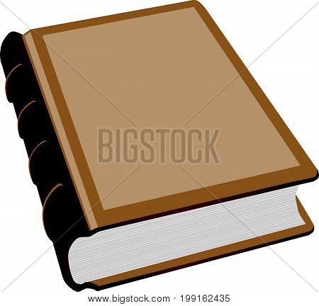 A thick book with a leather binding. Vector illustration.