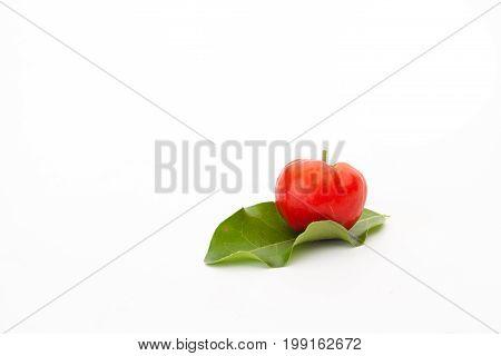 Acerola cherry of thailand White background Select focus Barbados cherry