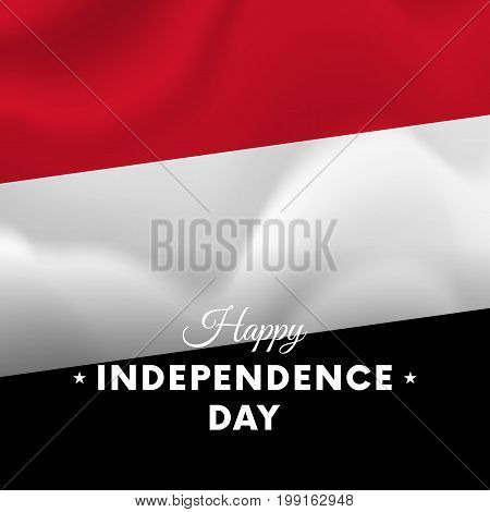 Banner or poster of Yemen independence day celebration. Waving flag. Vector illustration.