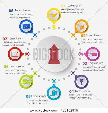 Infographic template with post icons, stock vector