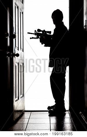 Intruder At Door, In Silhouette With Ar-15 Rifle