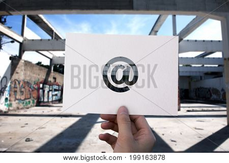 Email network communication perforated paper at sign