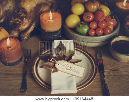 Table Napkin Turkey Thanksgiving Celebration Table Setting Concept