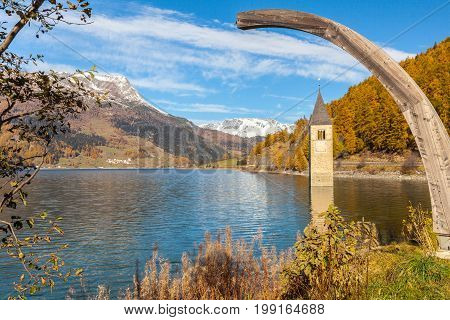submerged bell tower resia lake italy alps in summer