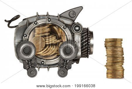 Steampunk style piggy bank. Mechanical animal photo compilation