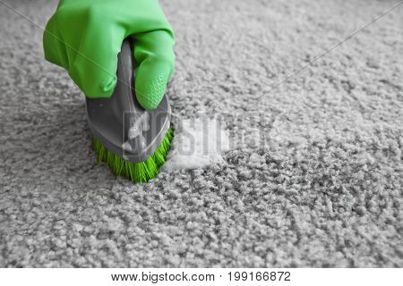 Hand in rubber glove cleaning carpet with brush, close up