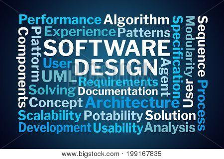 Software Design Word Cloud on Blue Background