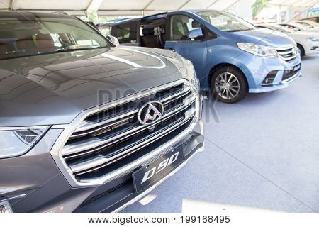 Dongguan, Guangdong, China - August 7, 2017: Maxus brand Chinese automobile on display at Dongguan car exhibition awaiting prospective buyers