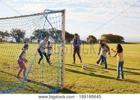 Girl defending goal during family football game