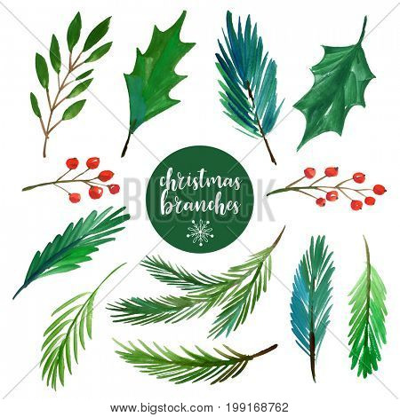 Watercolor Christmas branches collection