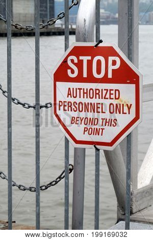 Stop Sign on Pier