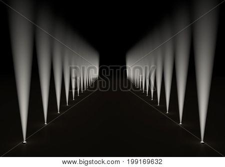 Passage illuminated with side floor spotlights background. 3D rendering.